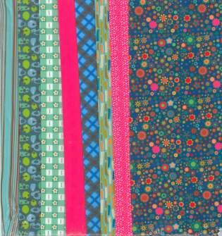 Fabric Set Multiflowers Petrol