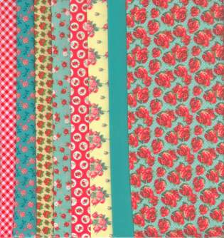 Fabric Set Red Roses